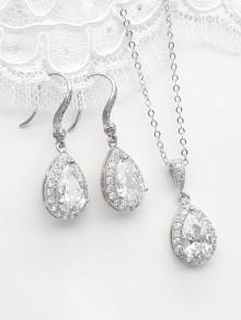 Parure bijoux mariage Gouttes strass zirconium