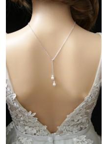 Collier de dos mariage plaqué-or ou argent, collier lariat lasso à nouer