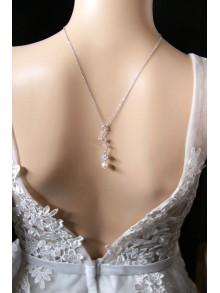 Collier de dos court et minimaliste, collier de dos mariée avec bijou amovible
