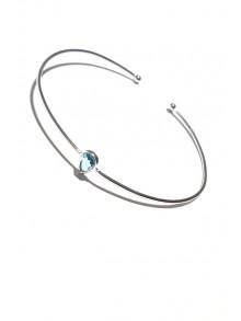 Bracelet jonc en argent, goutte d'eau en verre bleu