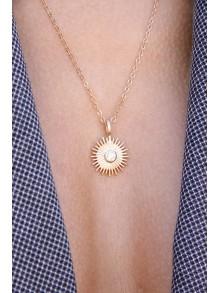 Collier chaîne plaqué or et pendentif soleil zirconium