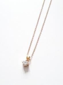 Collier chaîne plaqué or et pendentif solitaire zirconium
