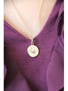 Collier médaille en plaqué or étoile du Nord