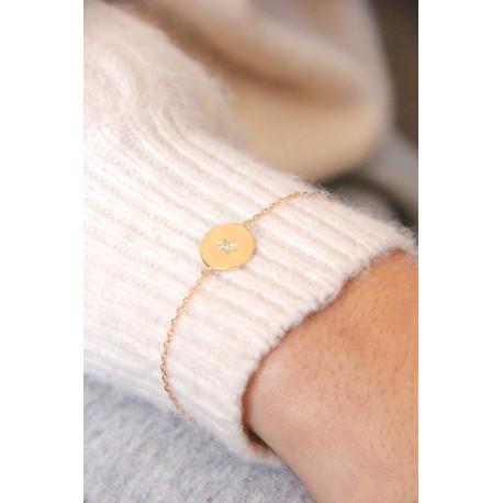 Bracelet  en plaqué or étoile du Nord oxyde de zirconium