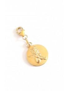 Médaille charme breloque ange en plaqué or et fermoir mousqueton