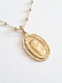 Collier médaille en plaqué or Notre dame de Lourdes