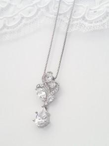 Pendentif collier mariage oxyde de zirconium navettes argenté rhodié