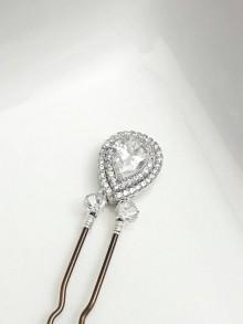 Epingle pic à chignon mariage, pic cheveux cristal et zircons
