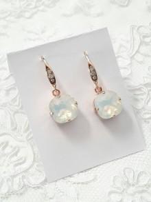 Boucles d'oreilles mariage cristal carré rose gold