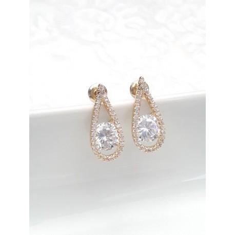 Boucles d'oreilles mariage dorées larme goutte oxyde de zirconium