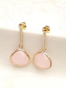 Boucles d'oreilles mariage rose verre facetté et strass oxyde de zirconium