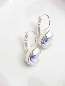Boucles d'oreilles mariage cristal AB dormeuses argentées
