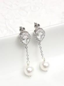 Clous d'oreilles strass gouttes oxyde de zirconium et pendants perles