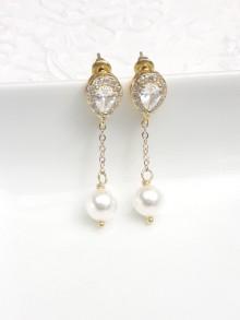 Clous d'oreilles dorés strass gouttes oxyde de zirconium et pendants perles