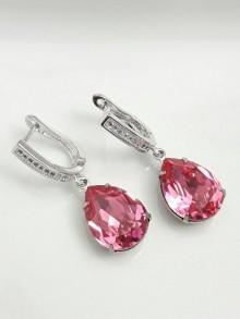 Boucles d'oreilles mariage gouttes en cristal rose