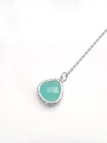 Bijou pendentif de dos mariage verre bleu outremer opal