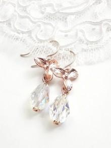 Boucles d'oreilles mariage cristal AB et fleurs orchidées rose gold