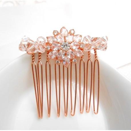Peigne de mariée rosace rose gold et perles en cristal