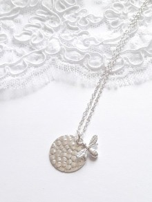 Collier médaille en argent massif avec pendentif abeille