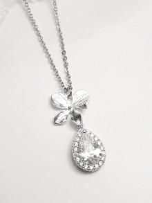 Pendentif collier mariage oxyde de zirconium et orchidée