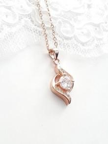 Collier mariage rose gold pendentif ondulations en zirconium
