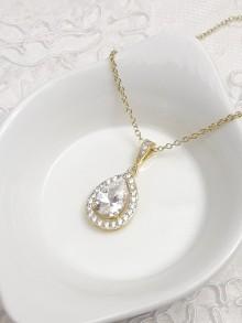 Collier de mariage doré pendentif goutte zircons