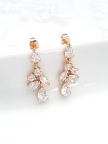 Boucles d'oreilles mariage doré goutte oxyde de zirconium