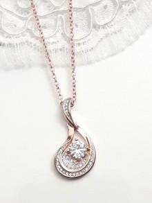 Collier mariage rose gold pendentif goutte pavé zirconiums