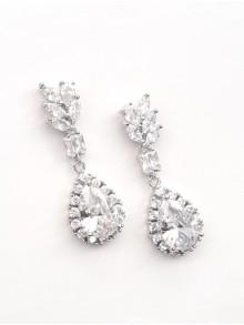 Longues boucles d'oreilles mariage gouttes oxyde de zirconium