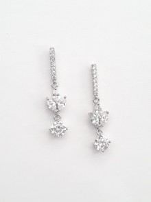 Boucles d'oreilles mariage pendantes oxydes de zirconium