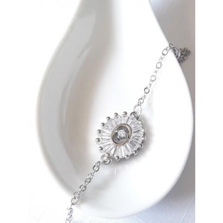 Bracelet mariage ovale et zirconium baguettes