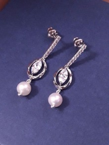 Boucles d'oreilles mariage clous d'oreilles en zirconium et nacre