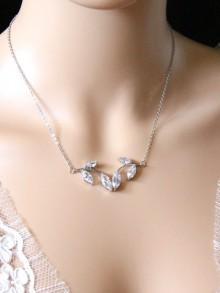 Collier de mariage feuilles en zirconium