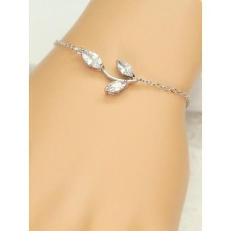 Bracelet de mariage feuilles en zirconium